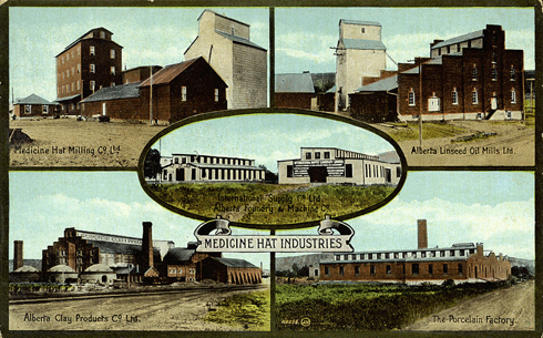 vintage medicine hat postcard of medalta and industry