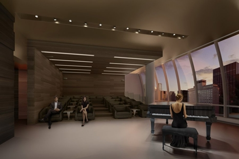 Rendering of interior, music room at One 57 by Christian de Portzamparc