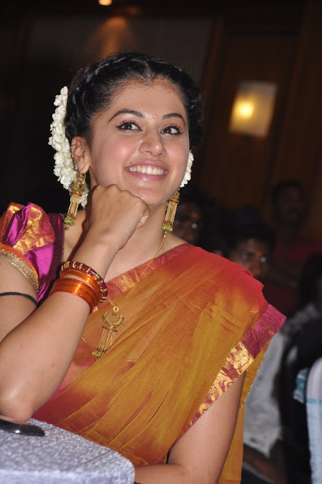 tapseelakshmi manchu in half saree at maranthen mannithen movie audio release cute stills