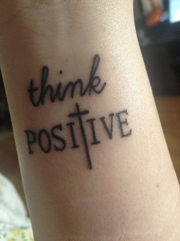 think Postive ink tattoo on wrist