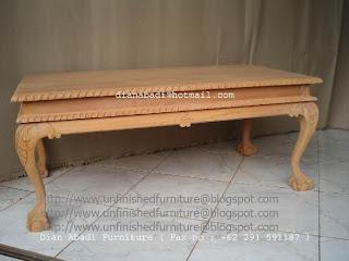 furniture klasik meja kopi klasik chippendale mentah unfinished supplier mebel klasik jepara meja ukir klasik unfinished