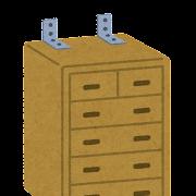 家具の転倒防止用品のイラスト「L字型の金具」