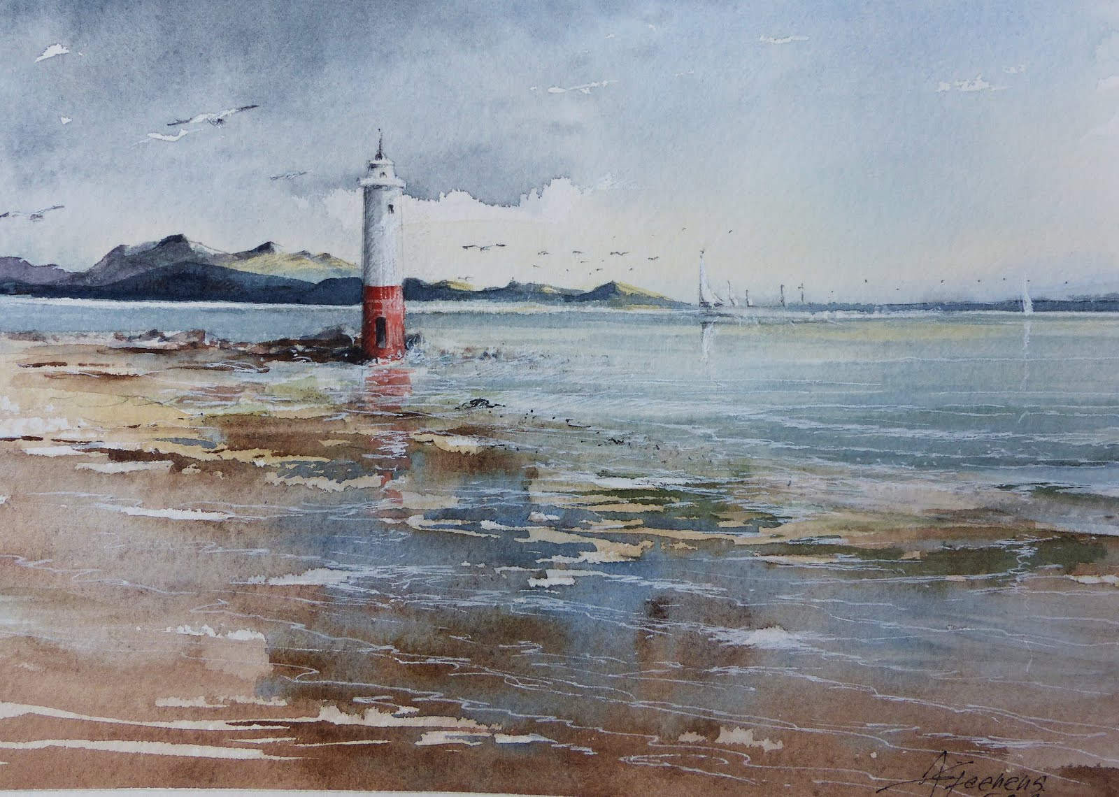 aquarelle de phare
