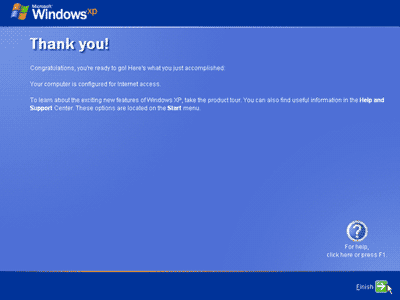 Finish Instalasi windows XP