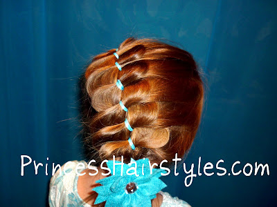 loose french braiding with ribbon
