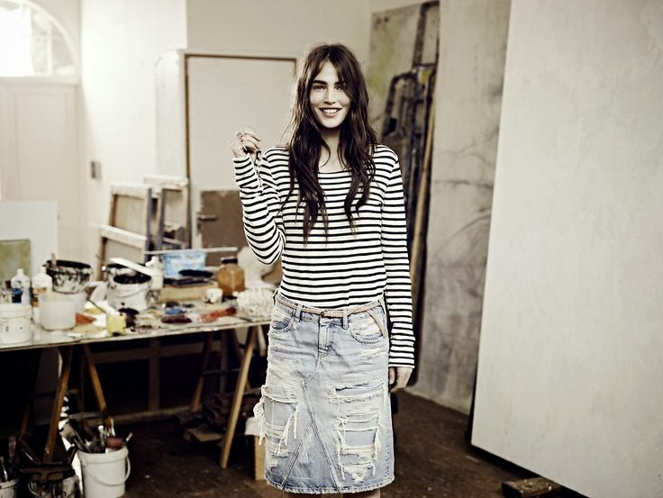 inspiration-street-style-stripes-denim-skirt-ripped