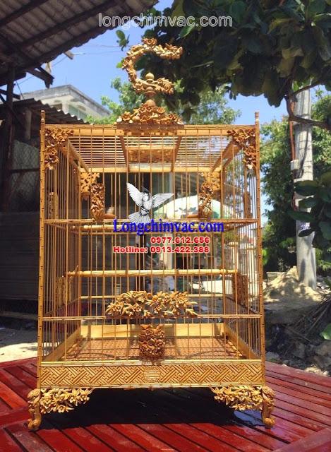 Lồng chào mào vuông gỗ huế 17 nan đục hoa mai hoá rồng CM082
