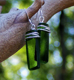 Emerald Green Recycled Glass Earrings