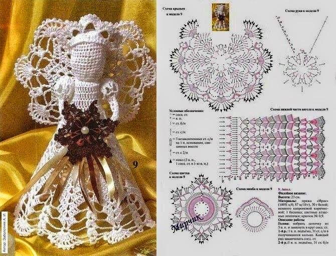 Angel tejido al crochet con aplique de flor