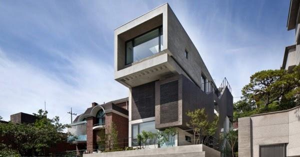 Dise o de interiores arquitectura tres enormes niveles for Casa moderna corea
