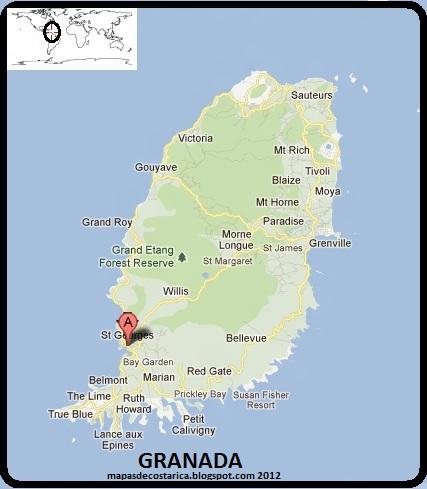 Granada isla del caribe america mapas de mapa de granada google maps gumiabroncs Gallery