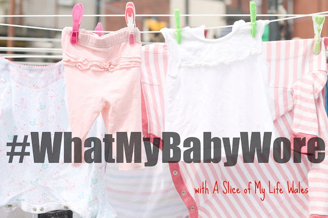 baby clothes on washing line faded with text over #WhatMyBabyWore