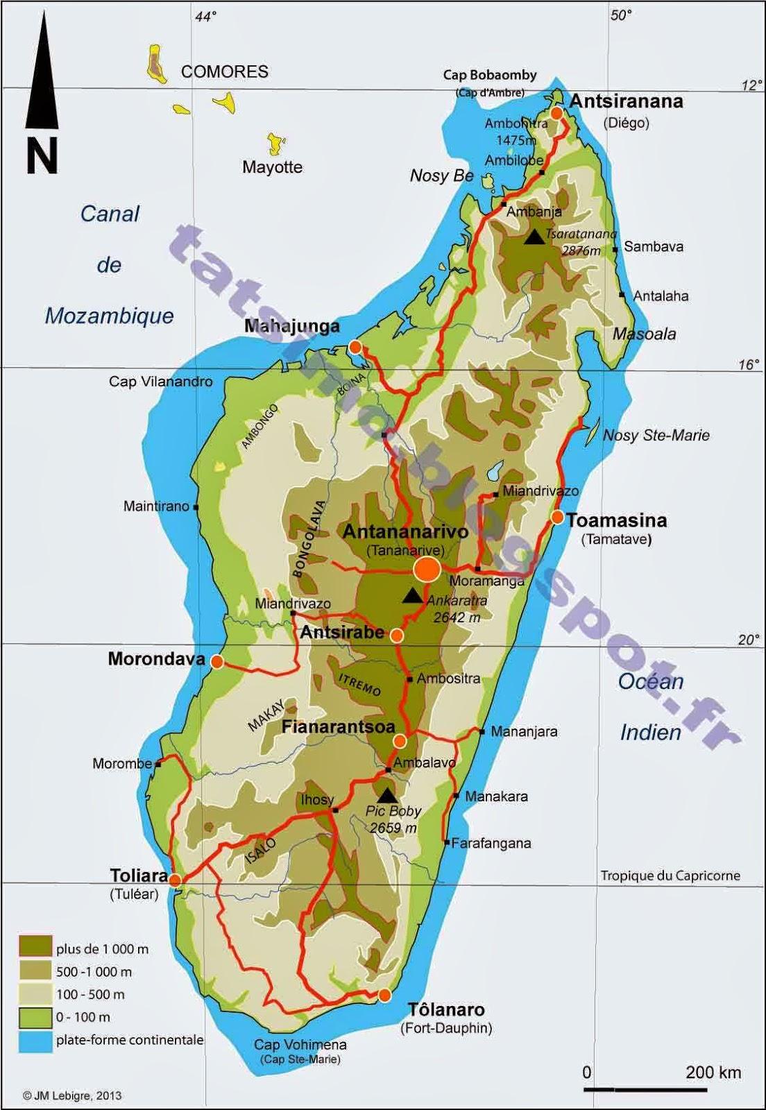 Madagascar carte touristique for Carte touristique