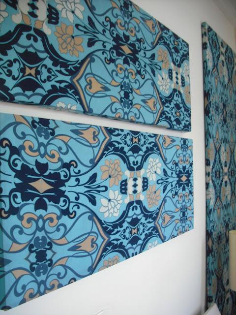 telas emcapadas com tecido, decorar gastando pouco, decoração de paredes