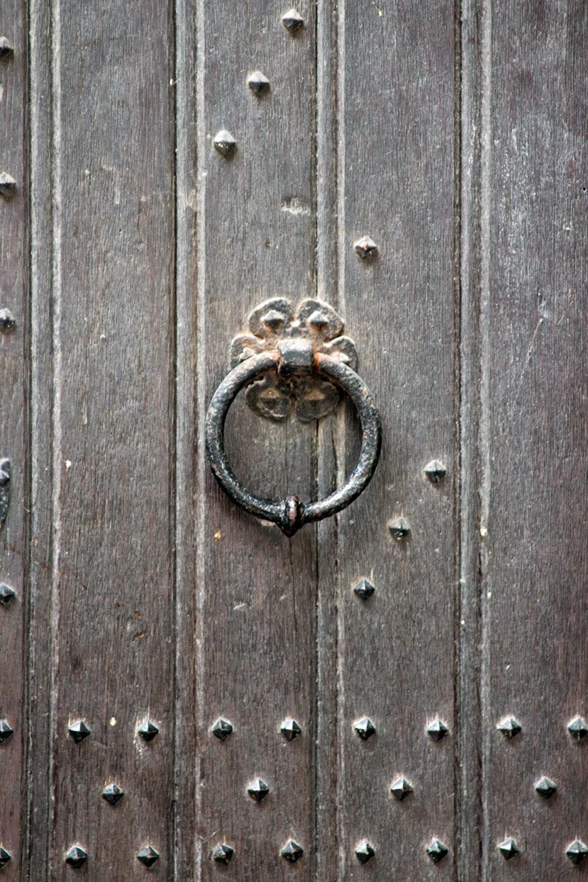 wooden side door of a church