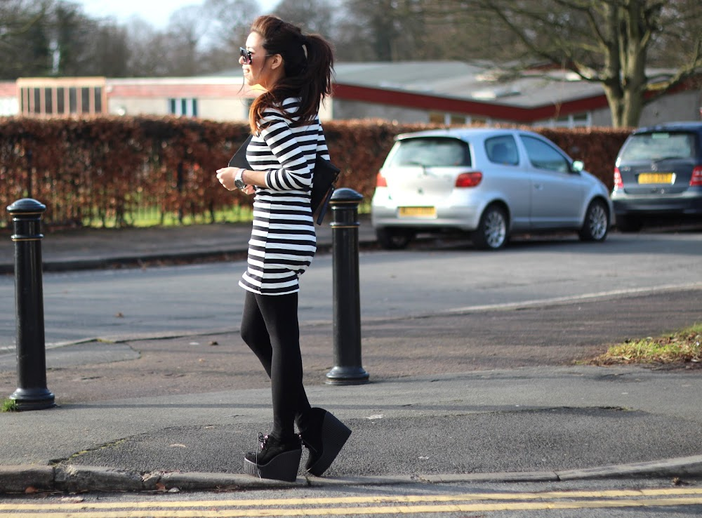black and white stripy dress, monochrome dress, monochrome, stripes, wedged creepers