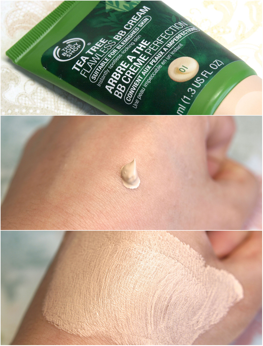 "Tea Tree Flawless BB Cream in ""01 Light"" ($15 CAD) review swatches"