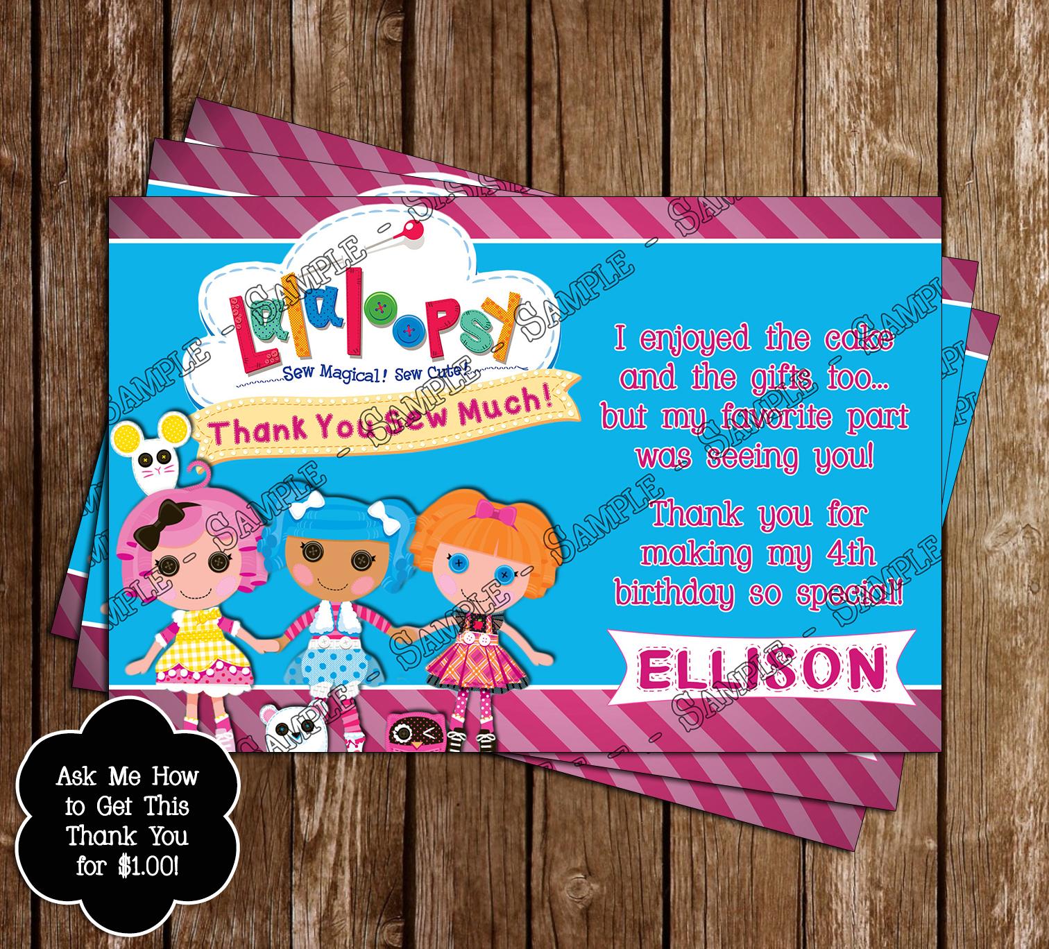 Novel Concept Designs Lalaloopsy Birthday Invitation and Thank – Lalaloopsy Birthday Invitation