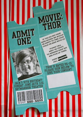 Movie Admission Ticket Party Invitations