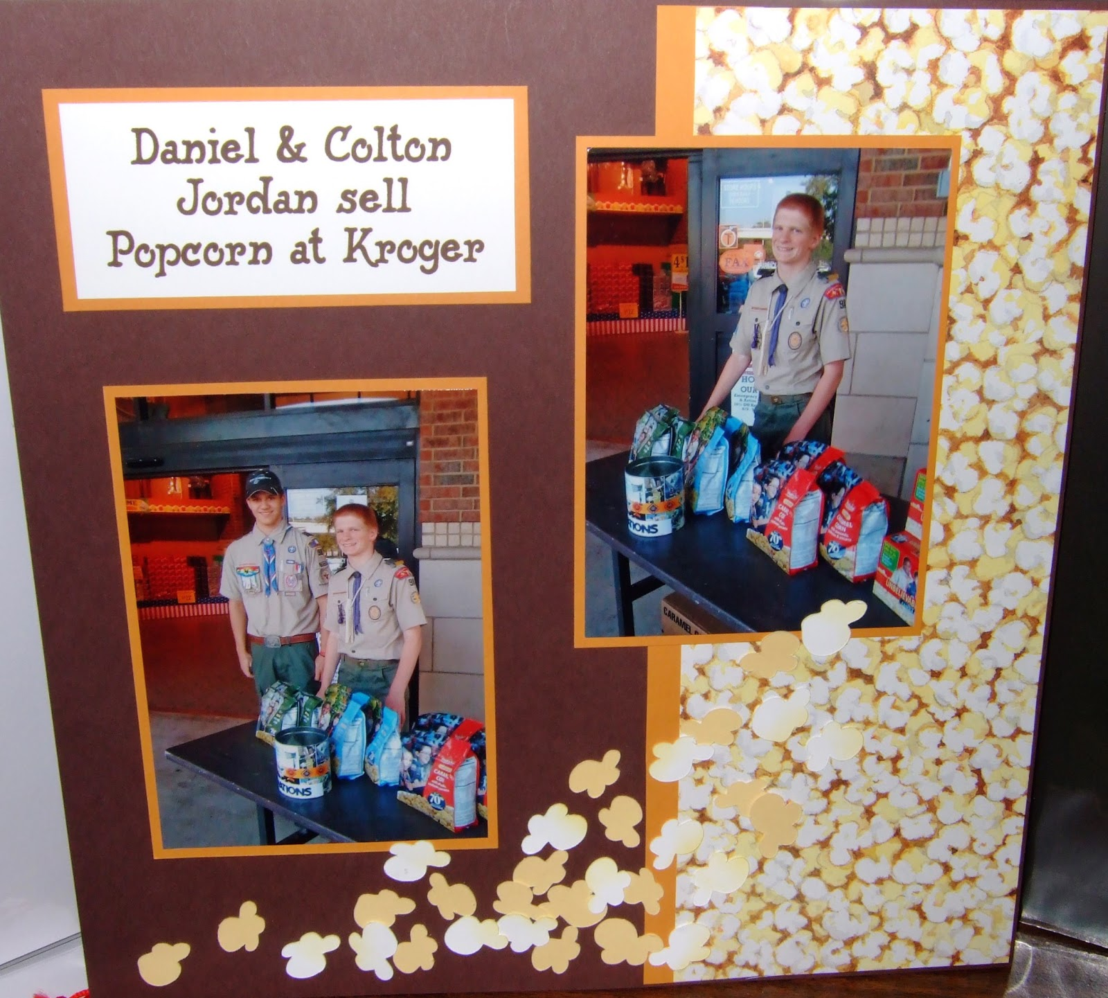Magnificent Obsession Selling Scout Popcorn Scrapbook Page