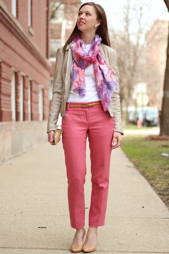 Pink Ankle Pants with Floral Scarf | StyleSidebar