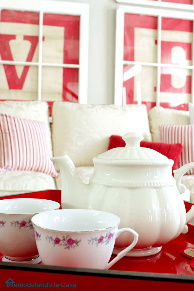 tea set adorning table in living room for VAlentines