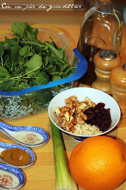 Ingredientes para la ensalada de berros