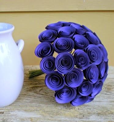 purple paper bouquet