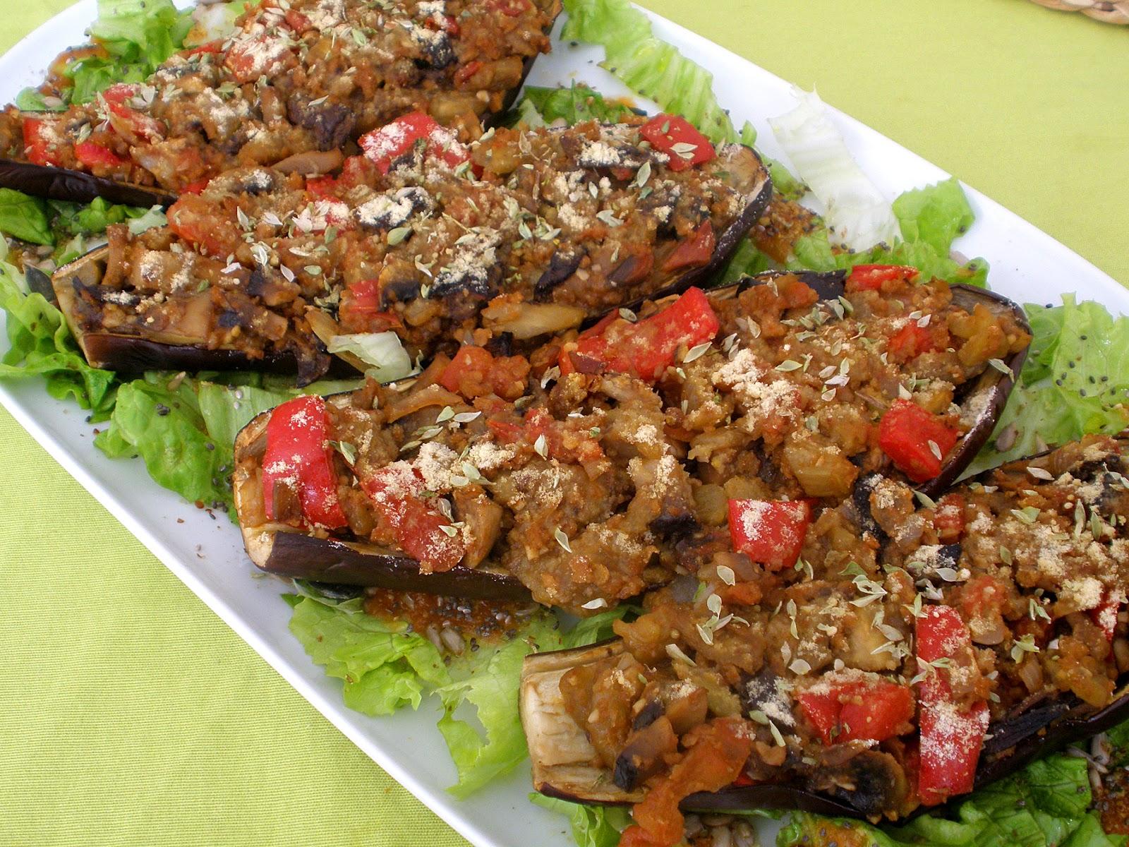 Cocina f cil vegana berenjenas rellenas for Cocina berenjenas rellenas