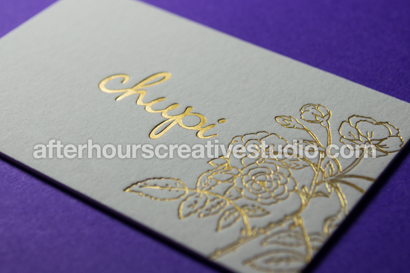 Luxury Business Cards: Satin Gold Foil Cotton Business Cards