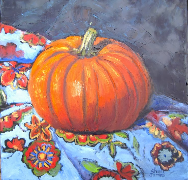 Artists of texas contemporary paintings and art flower Flower painted pumpkins