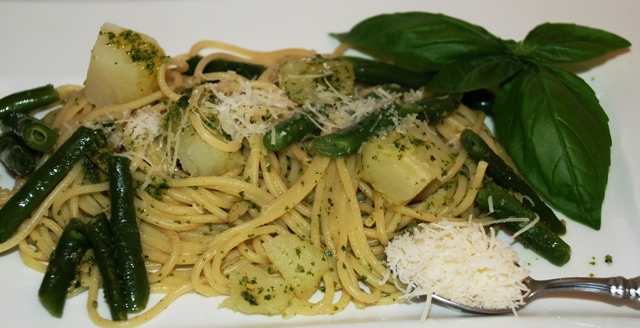 pasta potatoes and beans are lightly coated with the pesto serve with ...