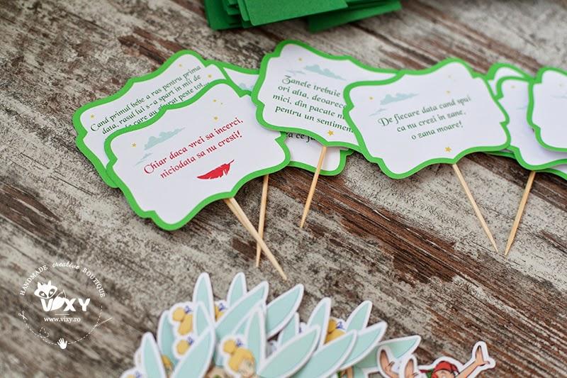 produse personalizate petrecere Peter Pan, stegulete candy bar Peter Pan, Peter Pan si Clopotica