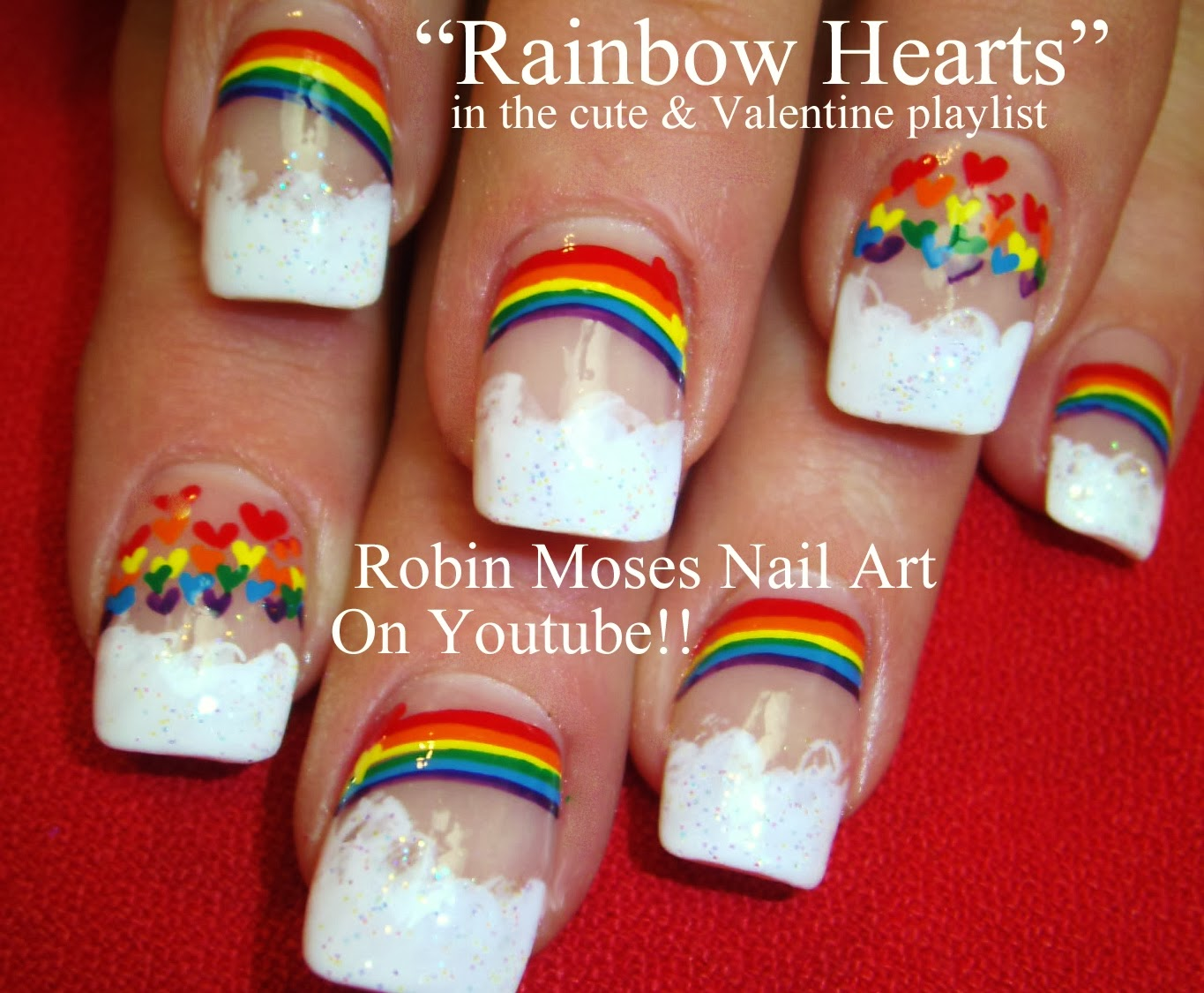 Nail Art By Robin Moses Rainbow Nails Rainbow Nail Art Dog Paw