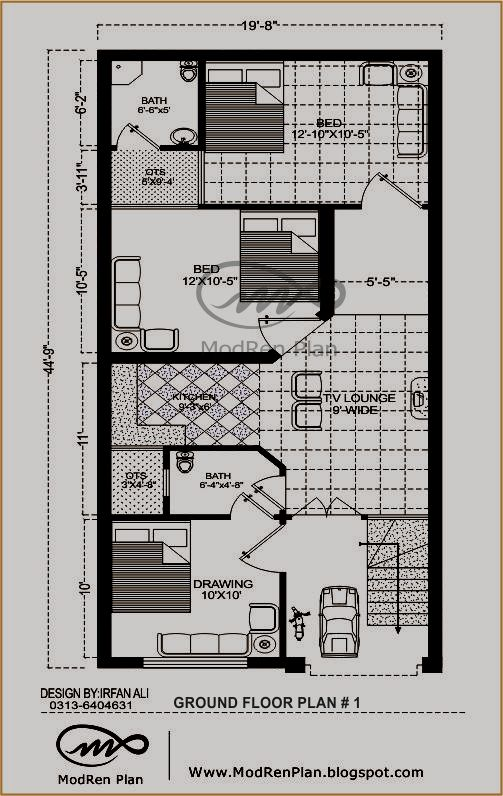 3 marla house map www modren plan