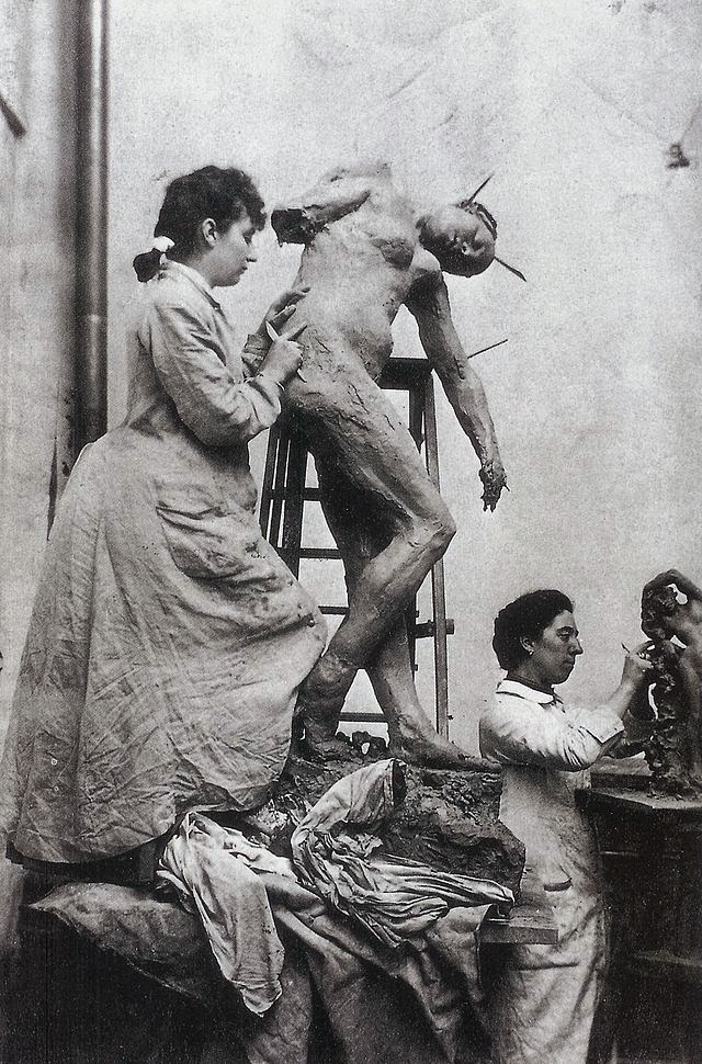 Camille Claudel in her studio