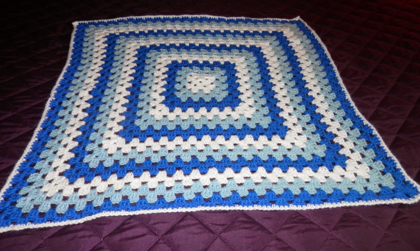 Karens Crocheted Garden of Colors: Blue and White Granny Square Baby ...
