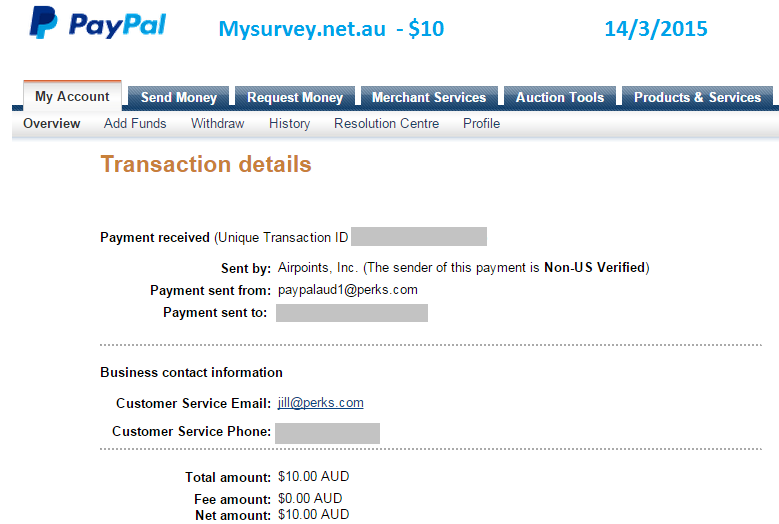 Paypal payment for $10 from My Survey for online surveys.