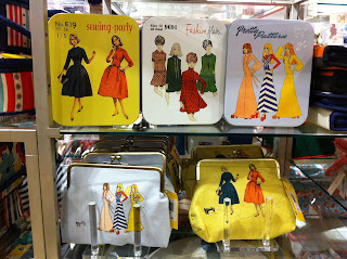 Hemingway tins and purses with vintage sewing patterns