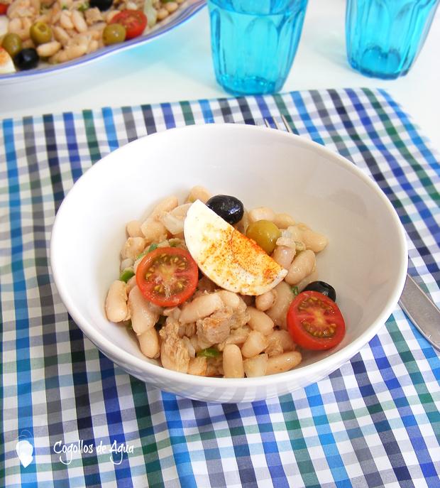 Ensalada de judias blancas con vinagreta de ajo y comino cogollos de agua - Ensalada fria de judias blancas ...