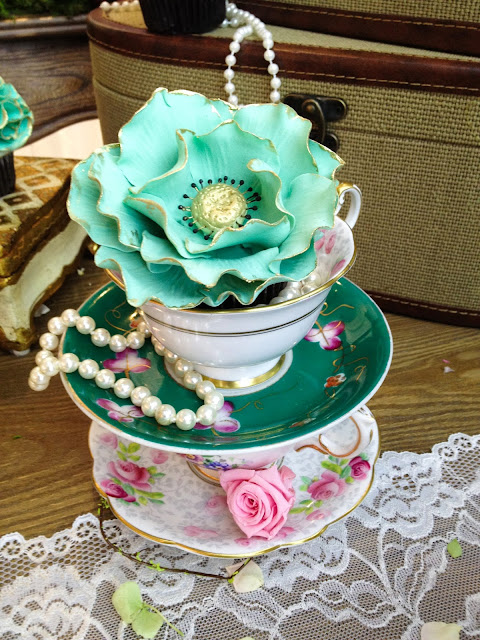 blush mint greyed jade pantone emerald and gold antique tea cups and gilded flower cupcake by Cupcake et Macaron Montreal