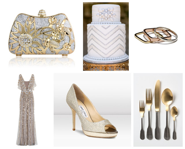 great gatsby, art deco, silver and gold wedding