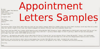 Sample Job Appointment Letters
