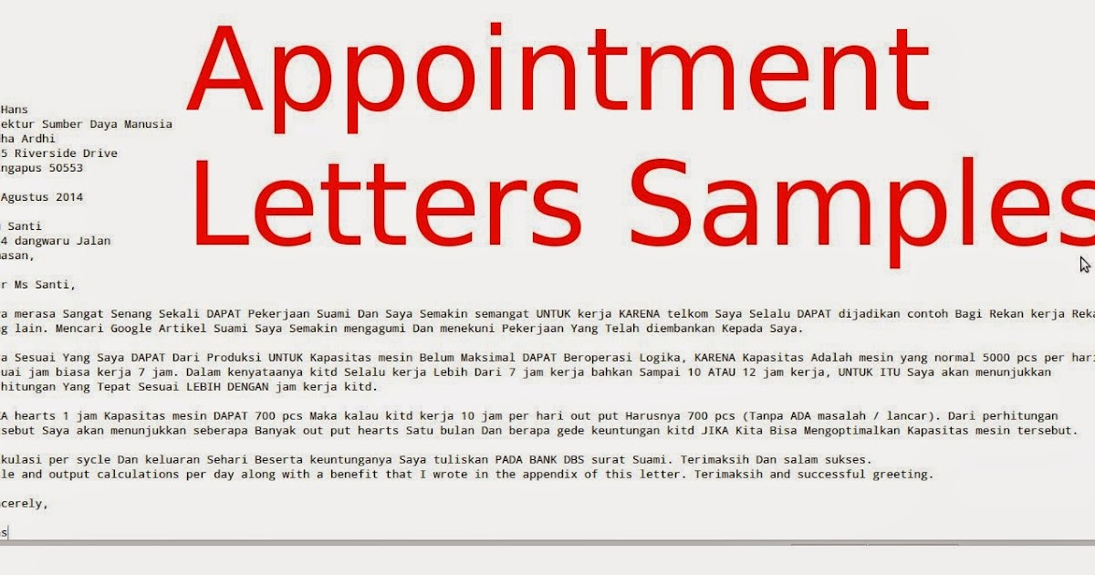 Appointment Letters Samples  Samples Business Letters