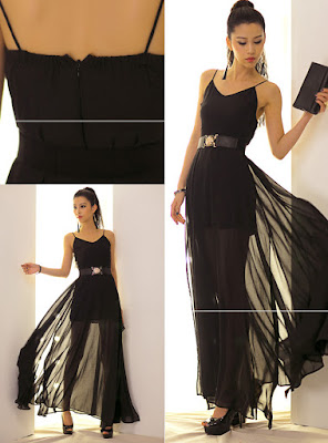 Gaun Pesta Hitam Chiffon Long Dress Sederhana