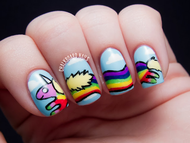 09: Lady Rainicorn Rainbow Nails | Chalkboard Nails | Nail Art Blog