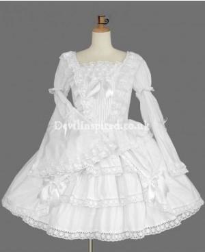 Vintage Pure White Trumpet Sleeves Sweet Lolita Dress
