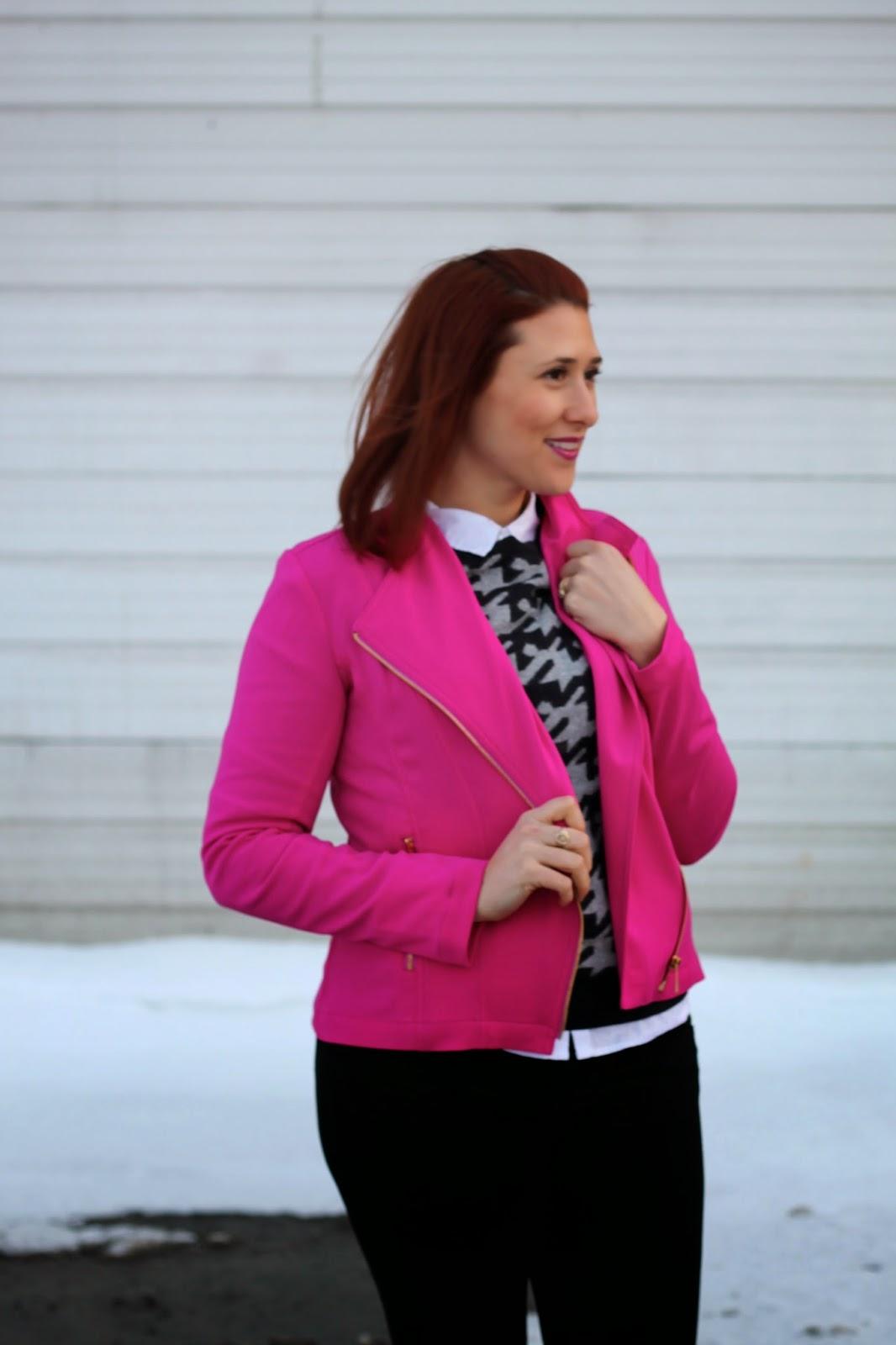 pink, moto, jacket