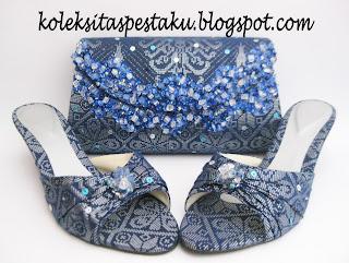 Kain SOngket Tas Pesta dan Sepatu Pesta Mewah Biru