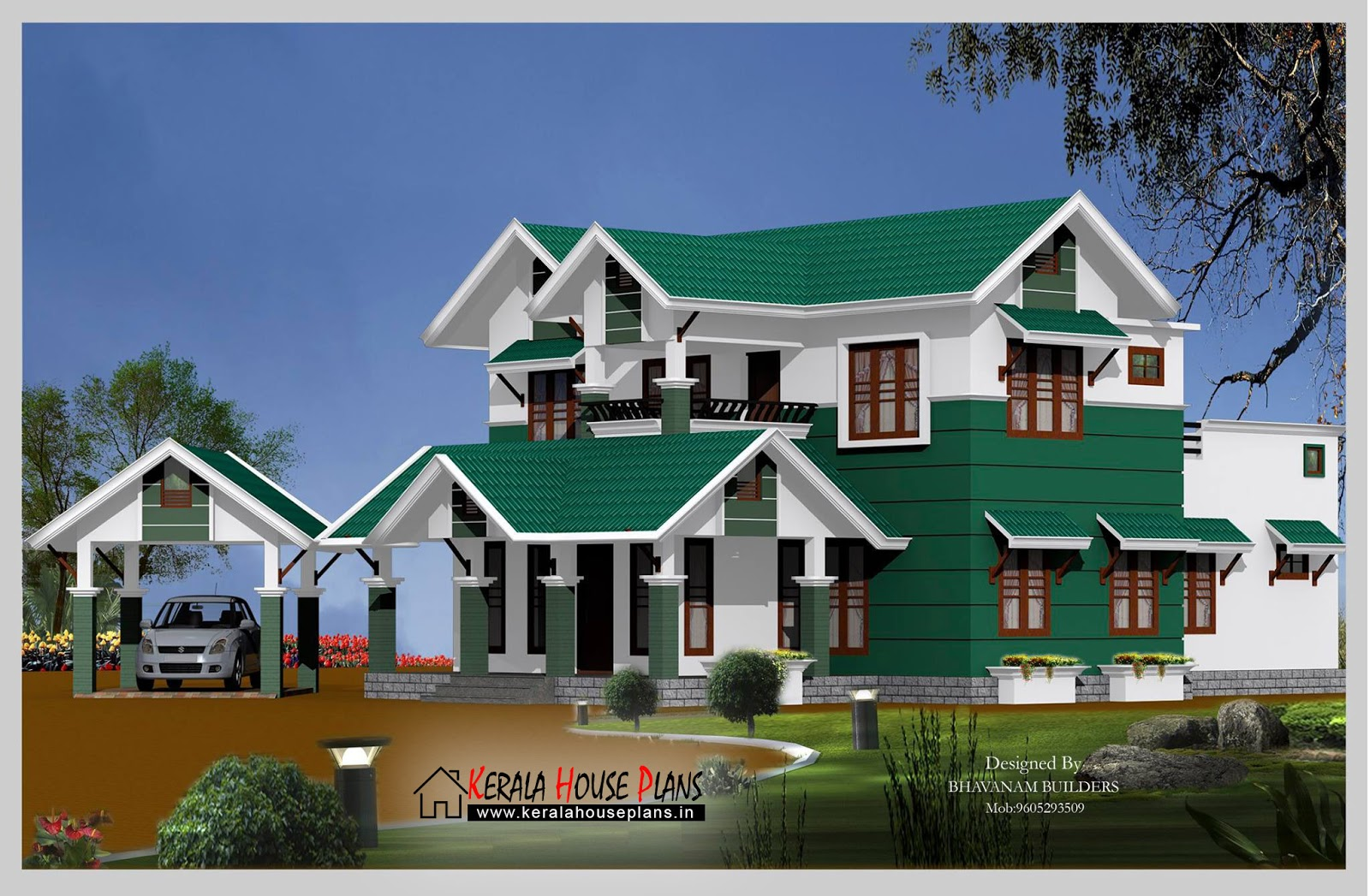 Modern 2600 sqft.  Slop Roof House Design